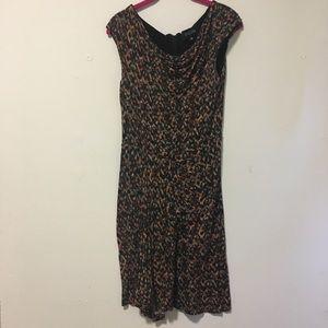 Saloni Brown Pattern Knot Sheath Dress 8